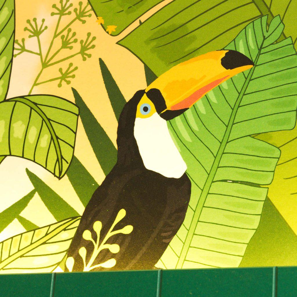 Toucan painting at Hula Juice Bar, Edinburgh