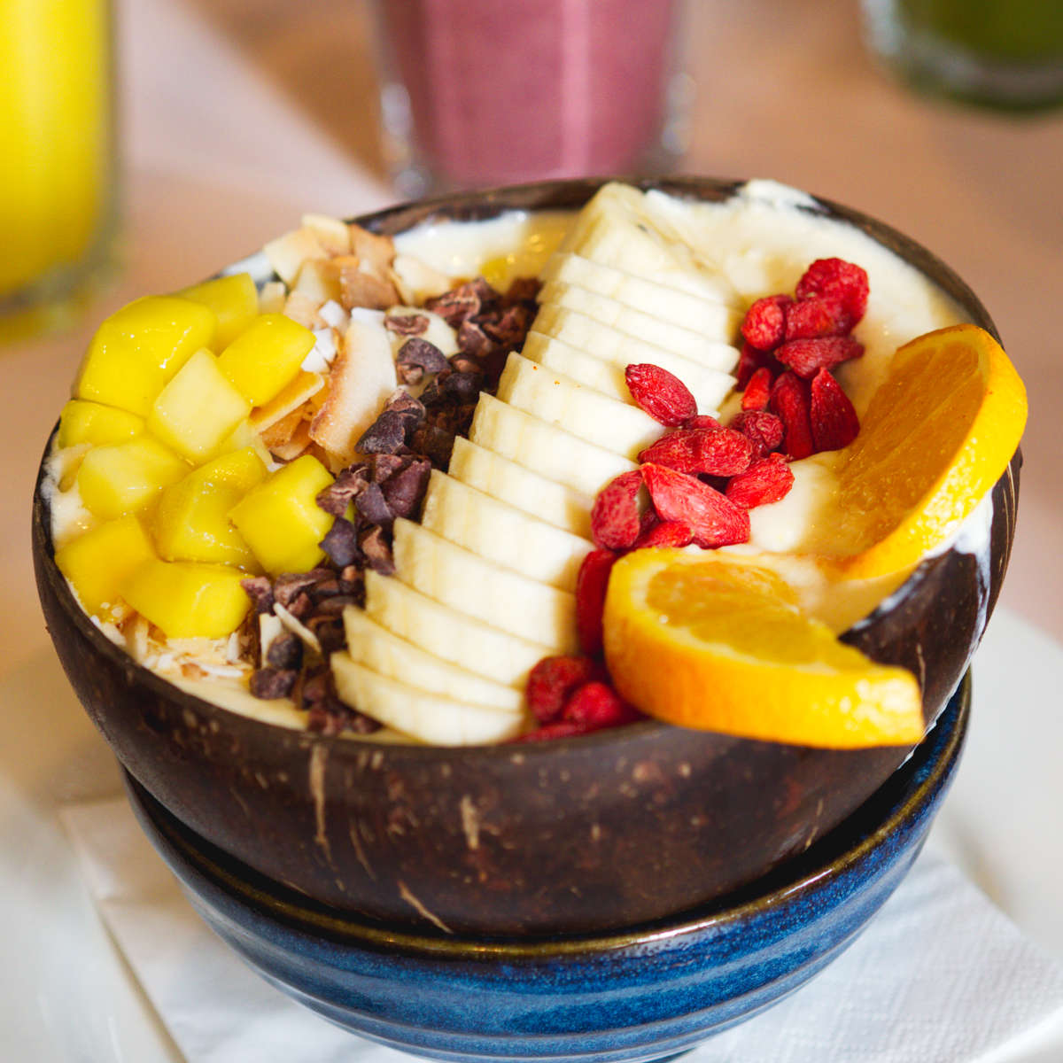 Vegan tropical smoothie bowl at Hula Juice Bar, Edinburgh