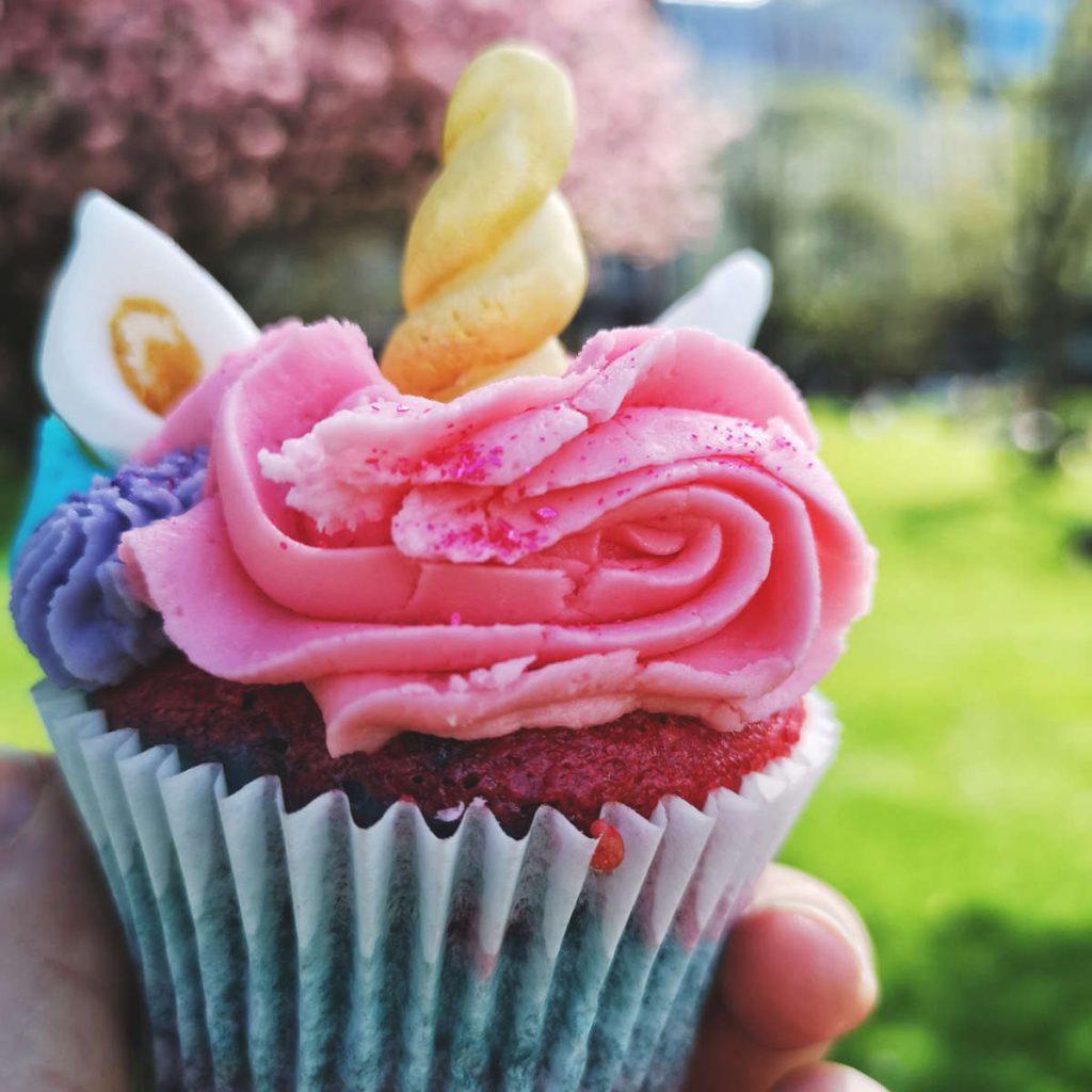 Vegan unicorn cupcakes at Naked Bakery, Edinburgh