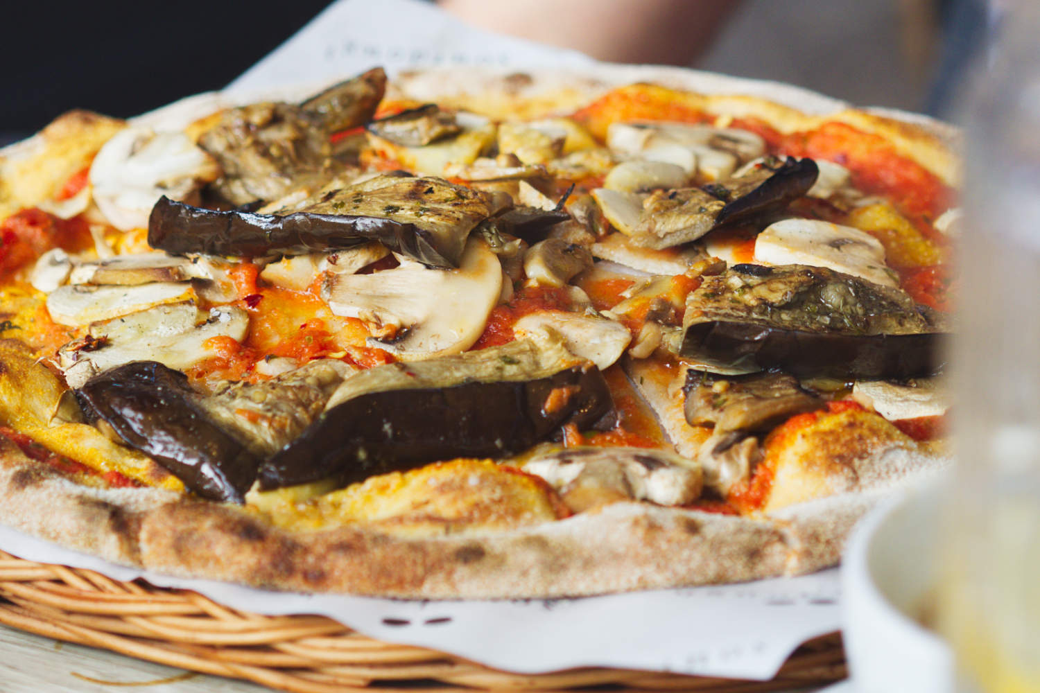 Vegan aubergine pizza at Soderberg, Edinburgh
