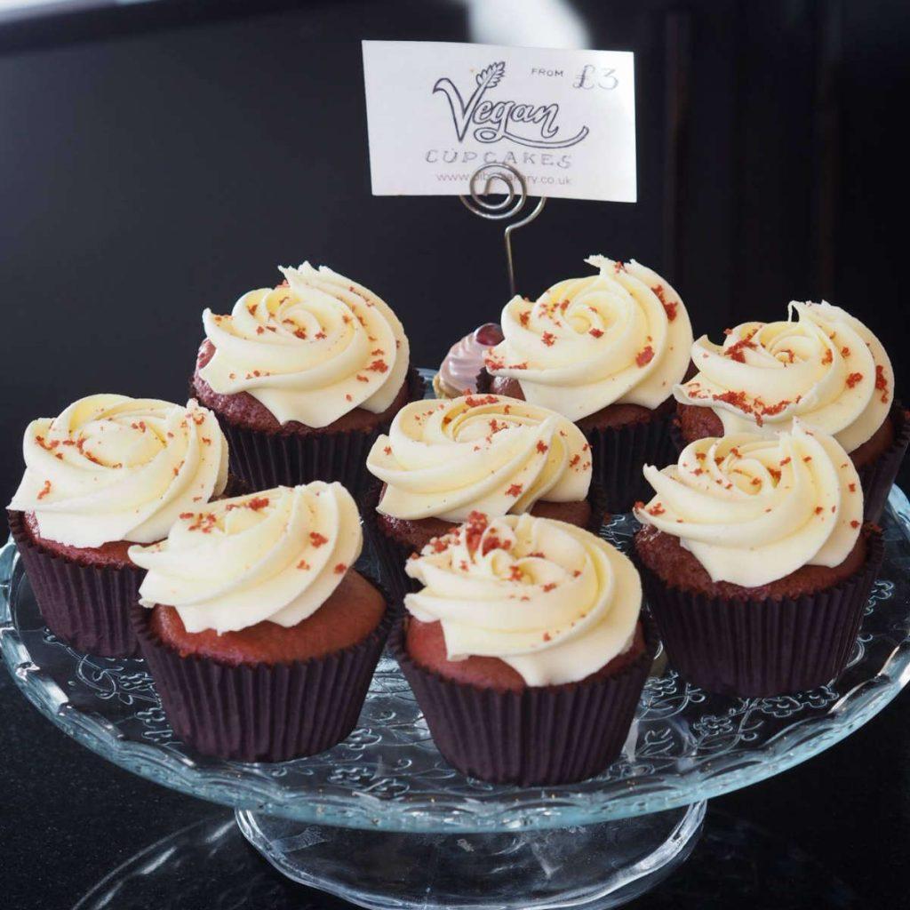 Vegan red velvet cupcakes at Bibi's, Edinburgh