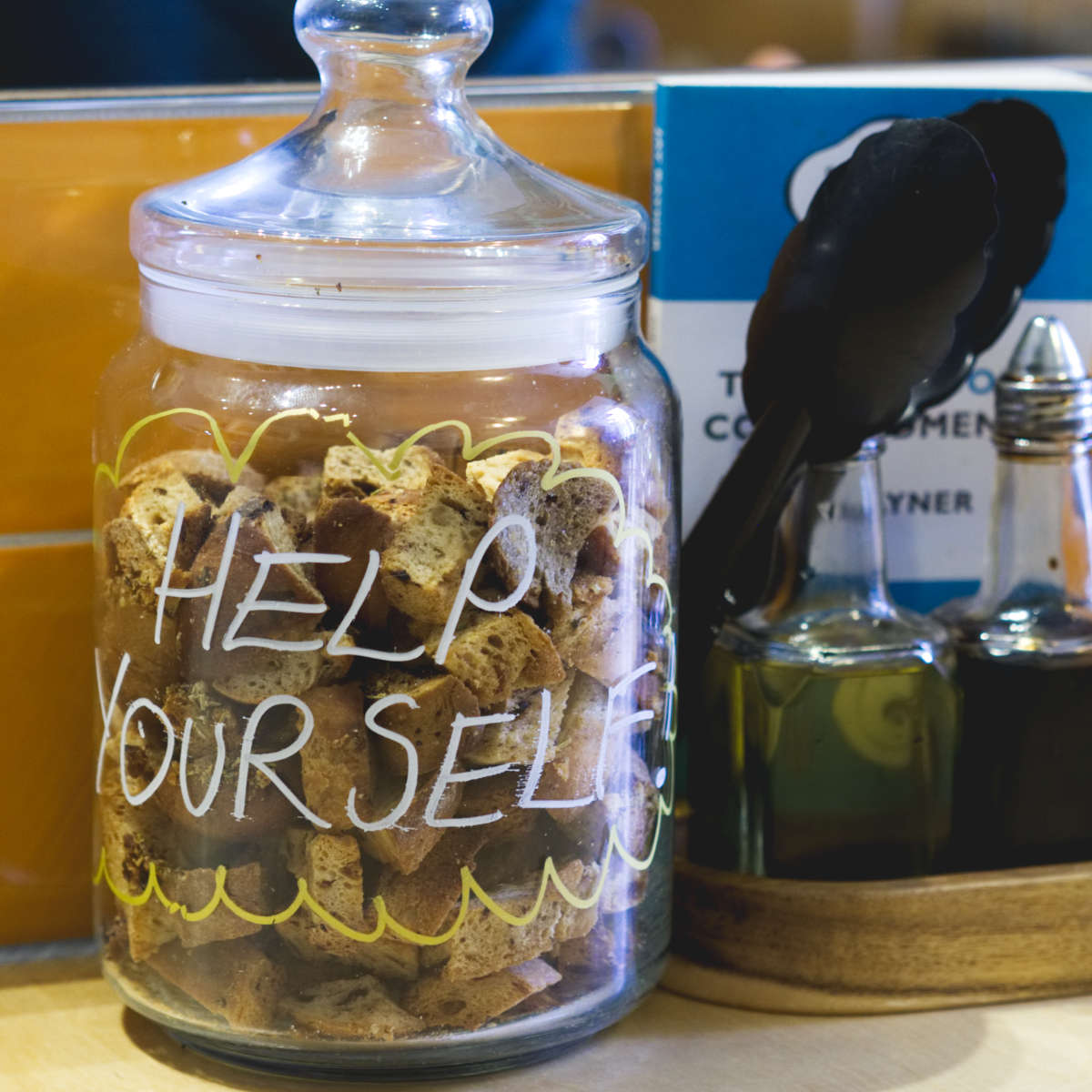 Jar of vegan croutons at Union of Genius, Edinburgh