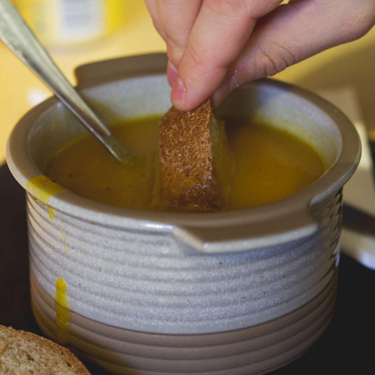 Vegan bread and soup at Union of Genius, Edinburgh