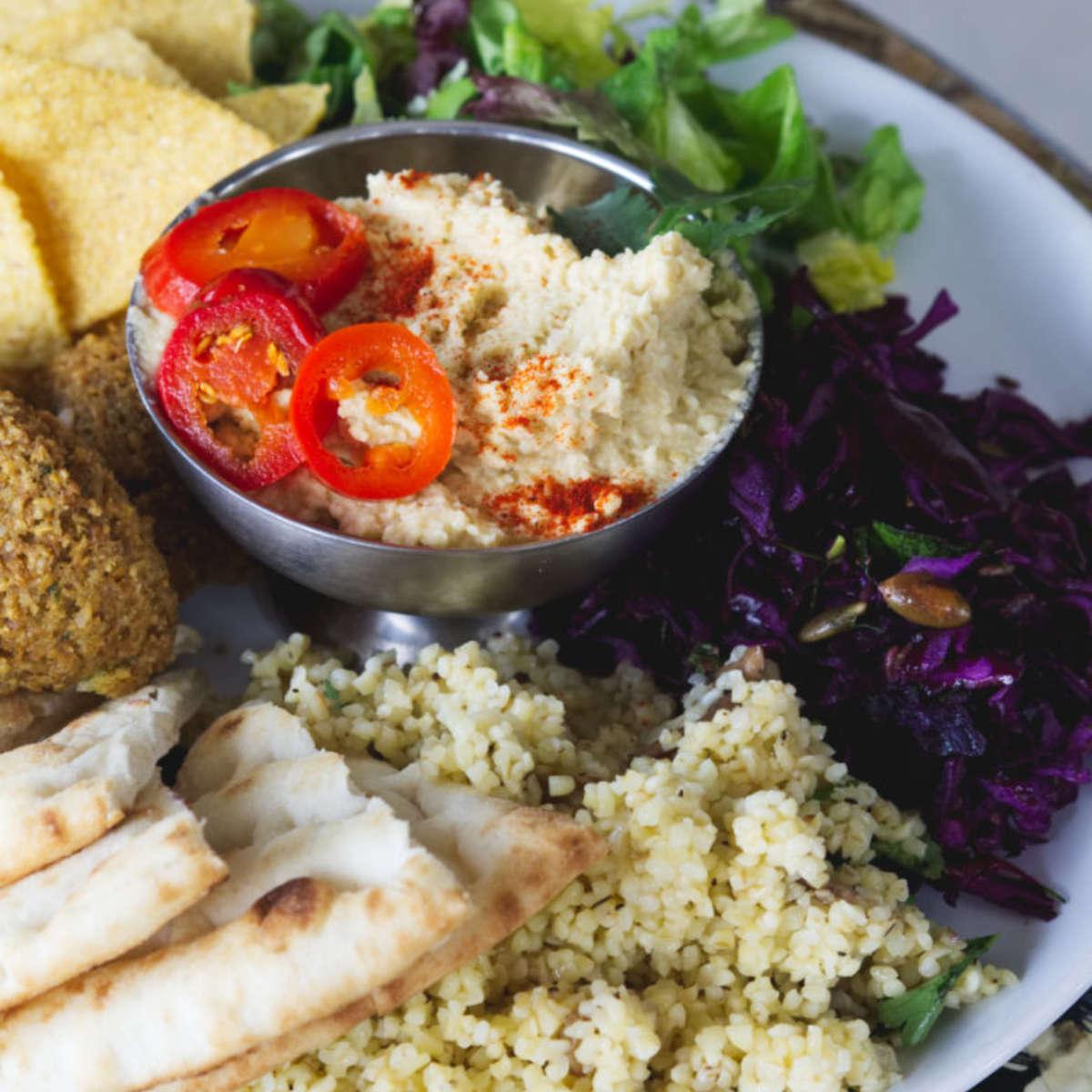 Full falafel meal at The Forest Cafe, Edinburgh