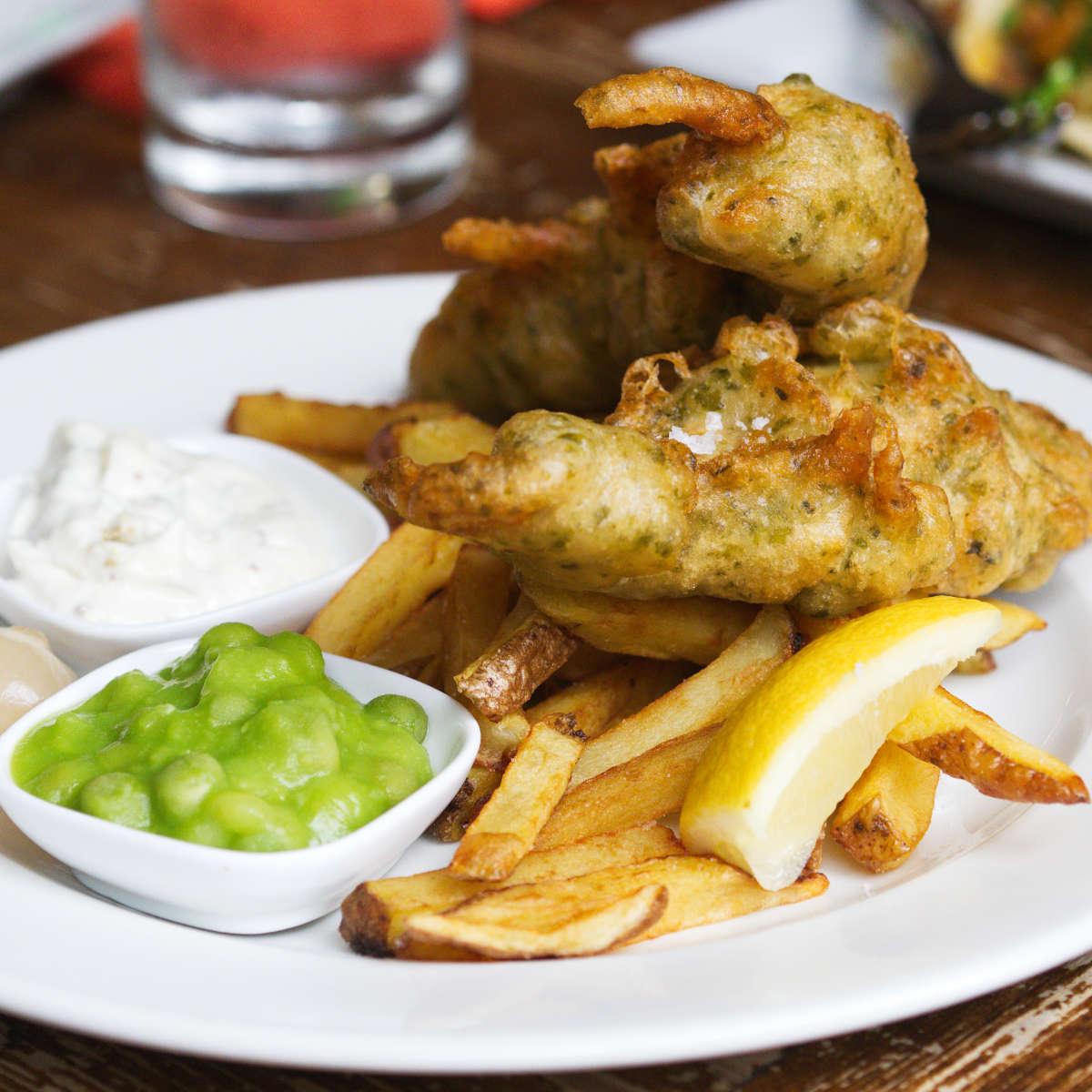 Vegan fish and chips at Harmonium, Edinburgh