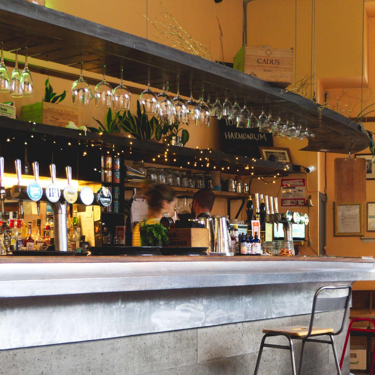 The bar at Harmonium, Edinburgh