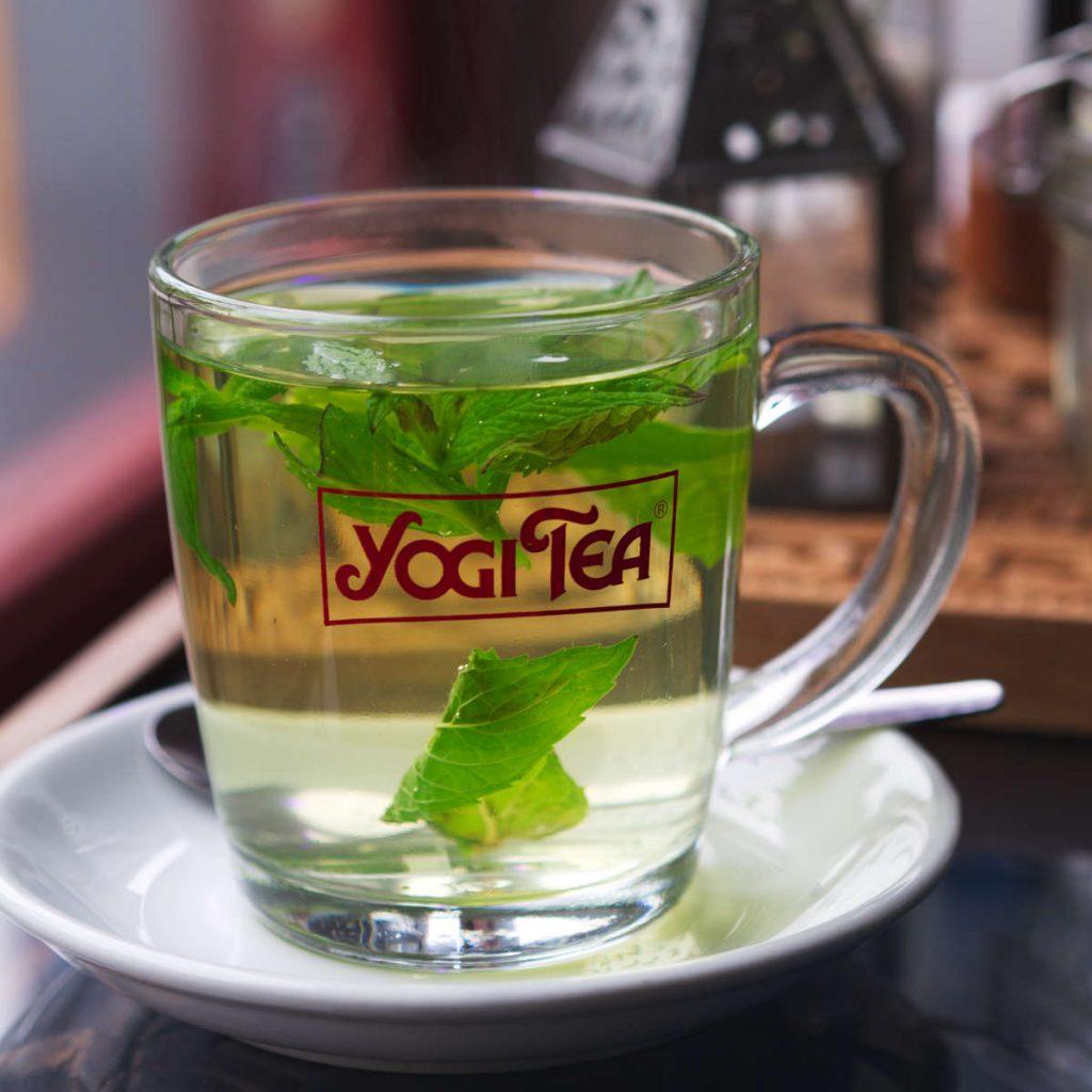 Vegan mint tea at Santosa cafe