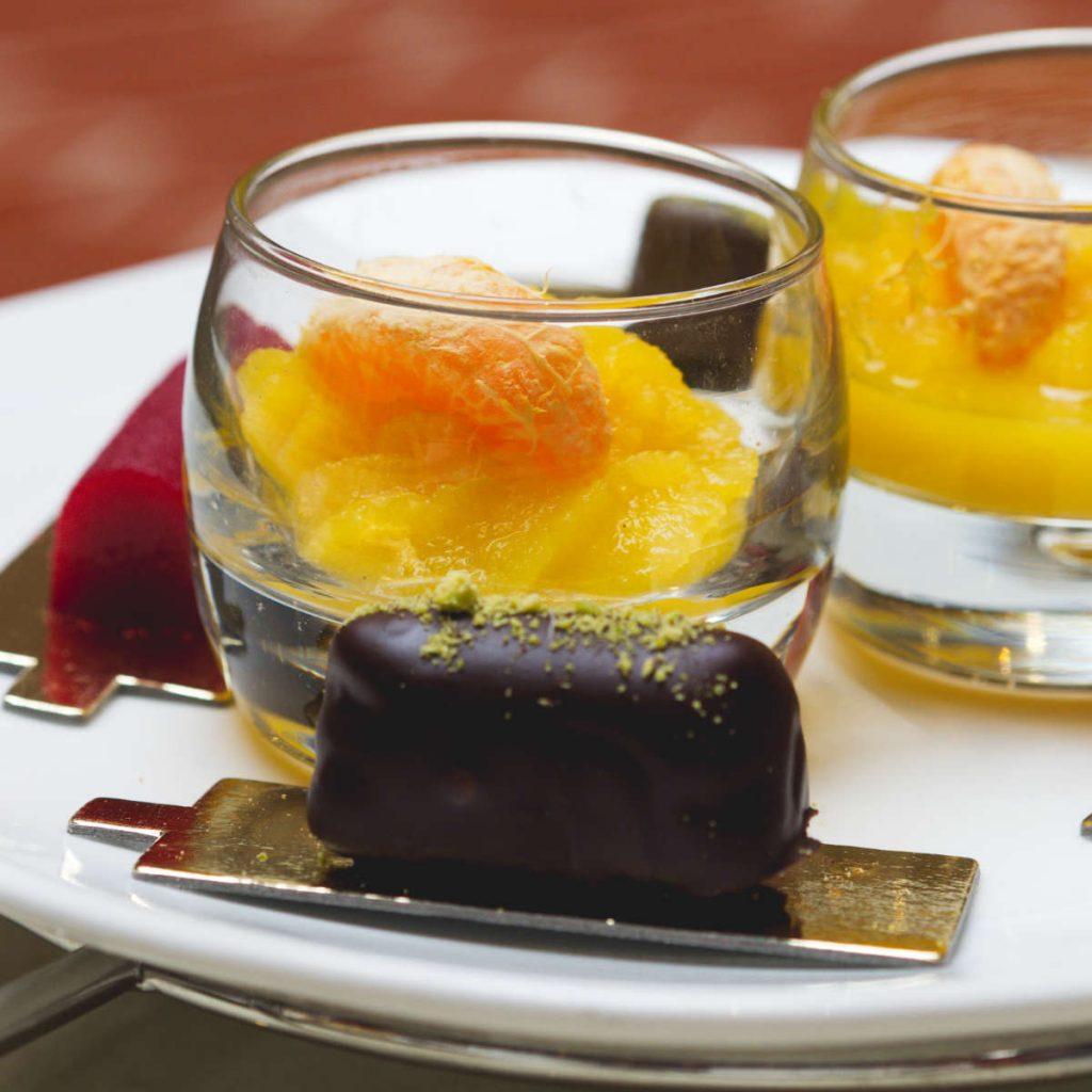 Vegan orange sorbet and pistachio truffle at The Waldorf Astoria, Edinburgh
