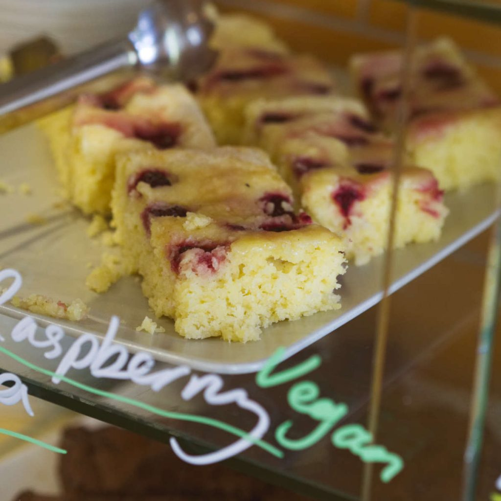 Vegan raspberry coconut and vanilla cake by Glutteny at Union of Genius, Edinburgh