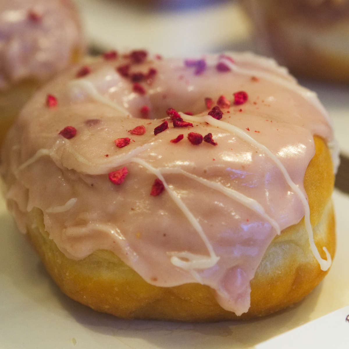 Vegan raspberry and white chocolate doughnut at Considerit, Edinburgh