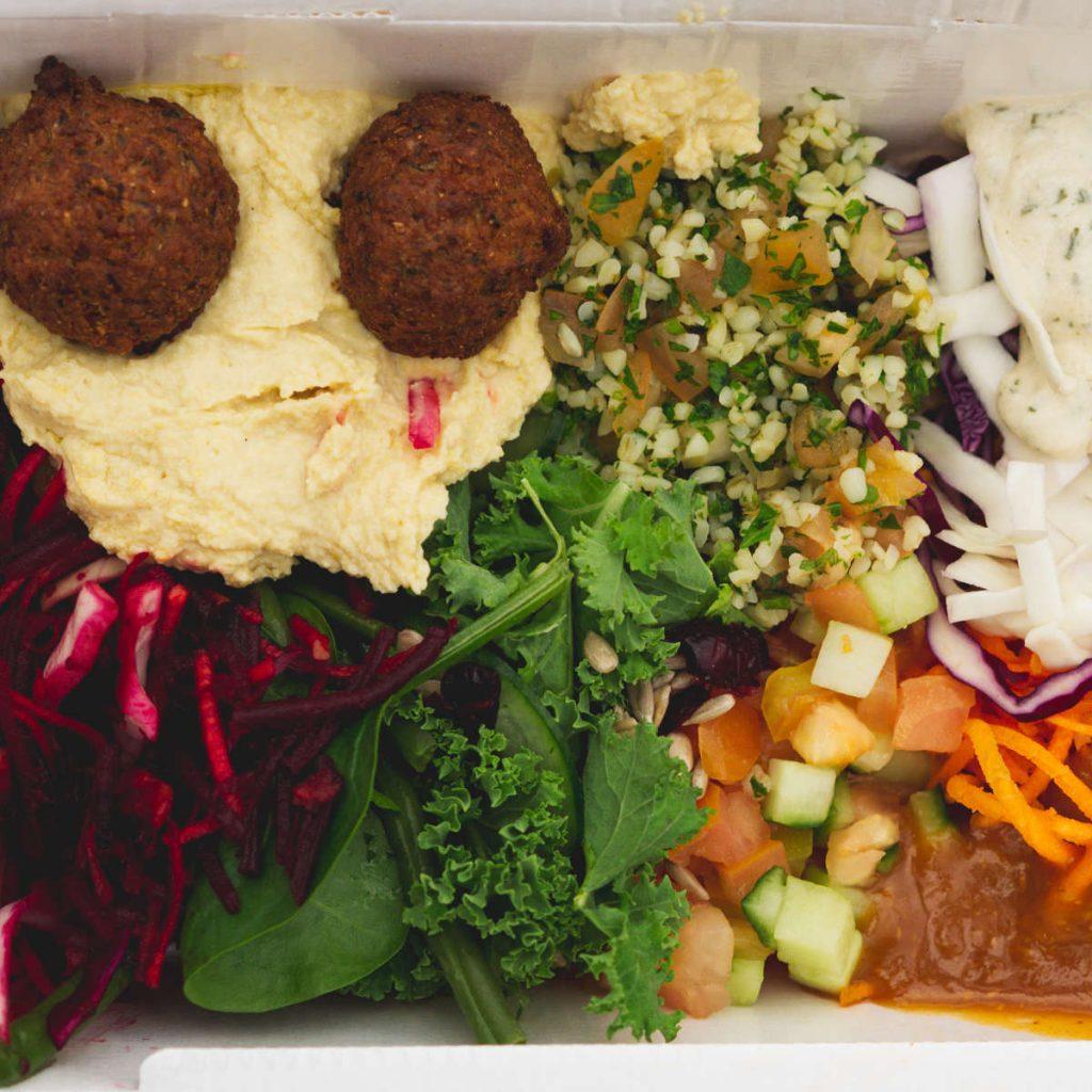 Vegan hummus and falafel salad Vegan hummus and falafel pitta at Humpit Hummus, Edinburgh