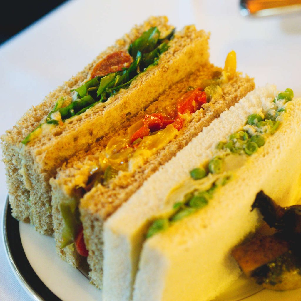 Vegan finger sandwiches at The Dome, Edinburgh