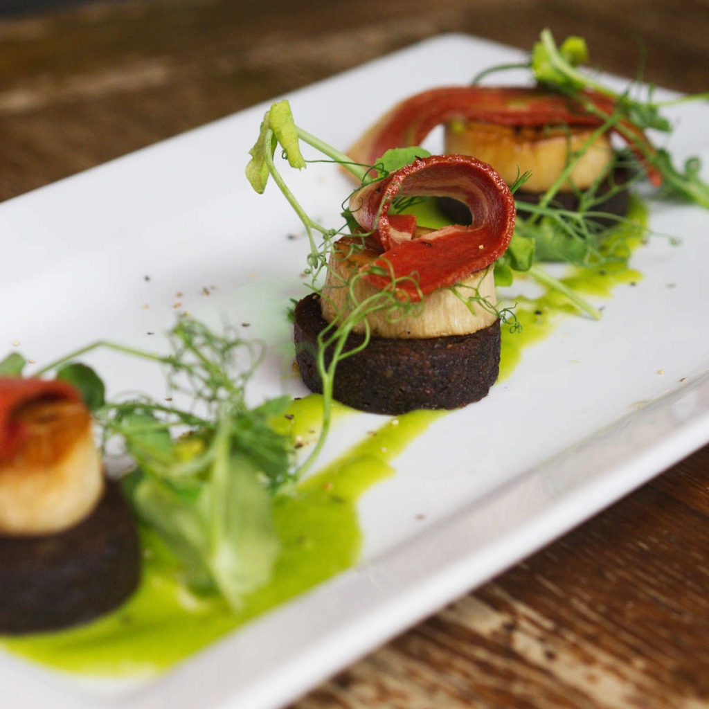 Vegan mushroom scallops at Harmonium, Edinburgh