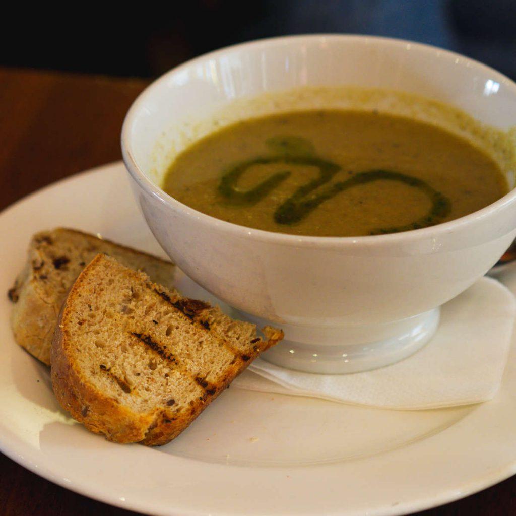 Vegan soup at David Bann, Edinburgh