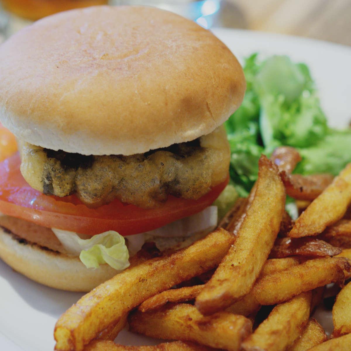 Vegan tofish burger at Harmonium, Edinburgh