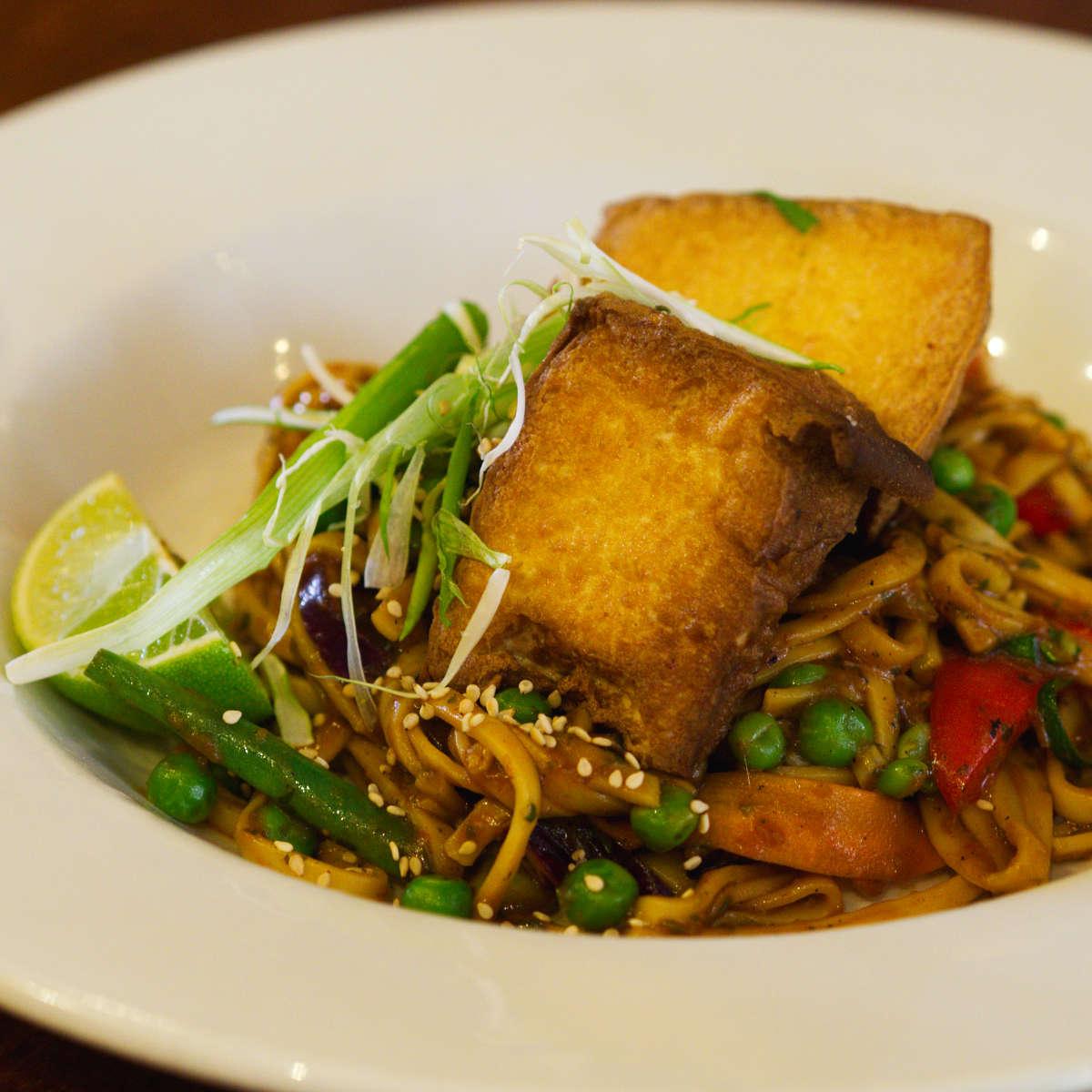 Vegan tofu and noodles at David Bann, Edinburgh