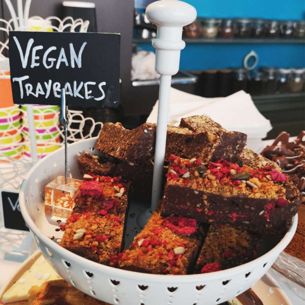 Vegan traybakes at Fredericks, Edinburgh