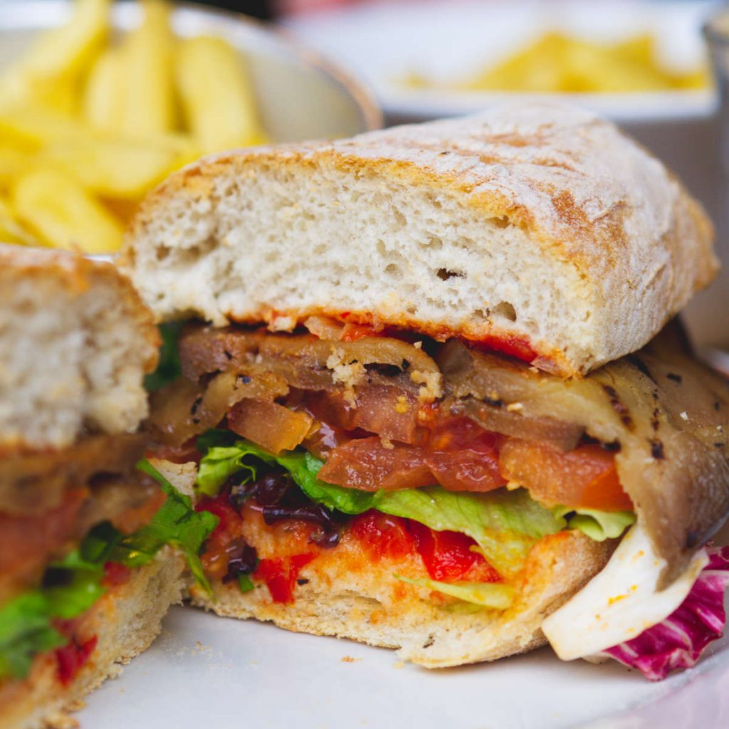 Vegan aubergine lettuce and tomato (ALT) sandwich at Checkpoint, Edinburgh