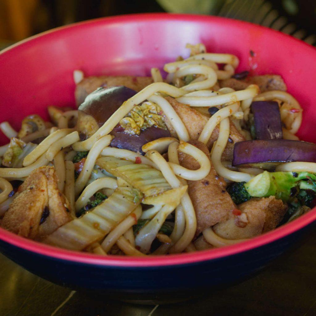 Vegan aubergine noodles at Red Box Noodles, Edinburgh