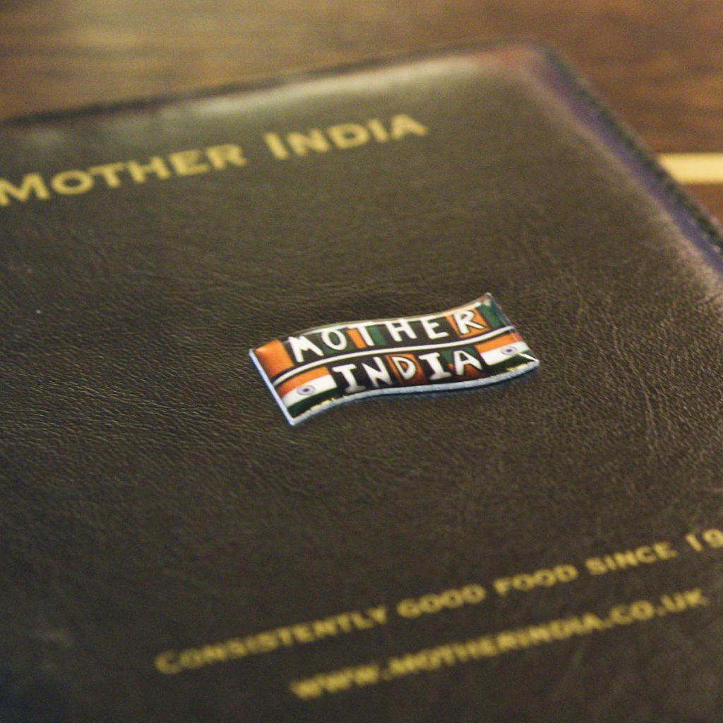 Menu at Mother India Café, Edinburgh