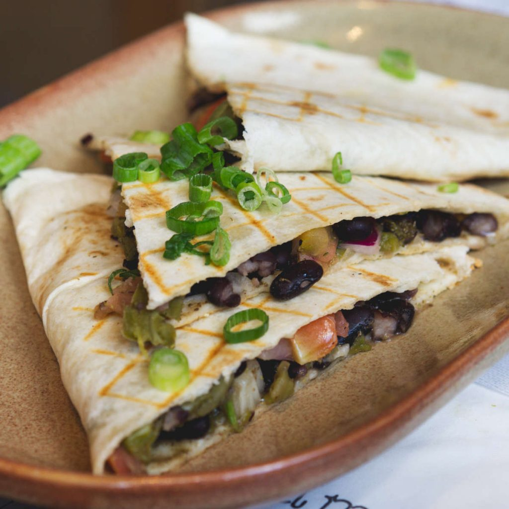 Vegan bean quesadillas at Topolabamba, Edinburgh