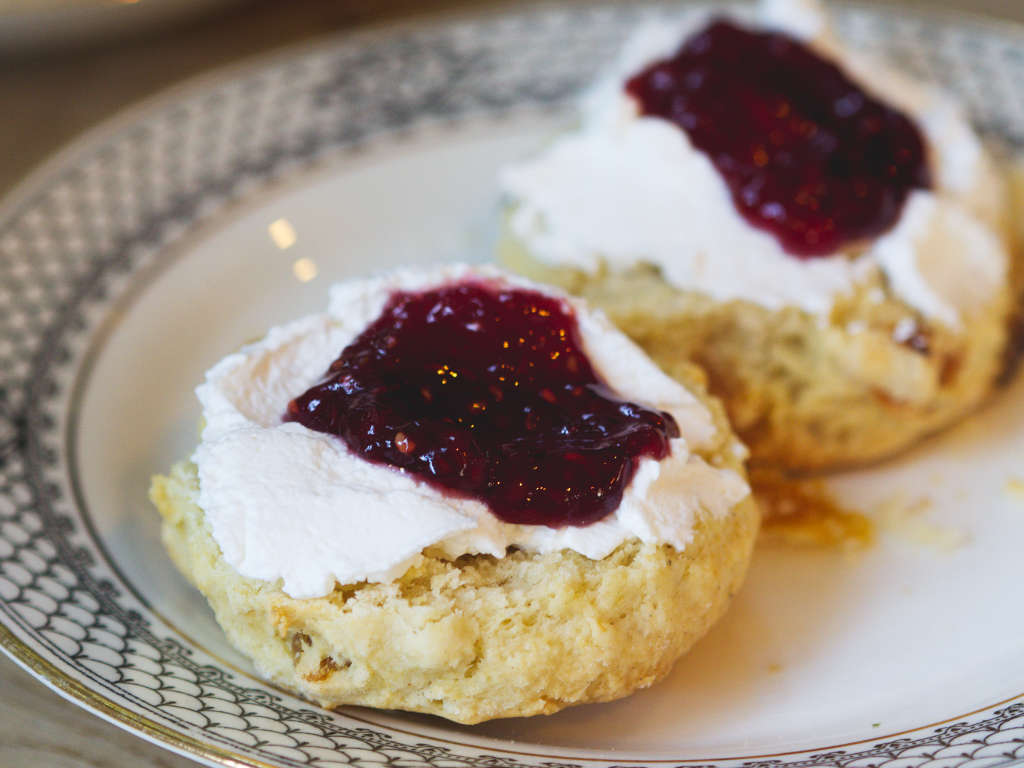 Vegan scones and jam at Beetroot Sauvage, Edinburgh