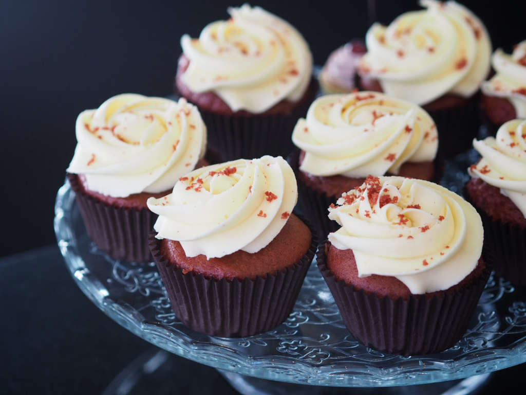 Vegan red velvet cupcakes at Bibi's Bakery, Edinburgh