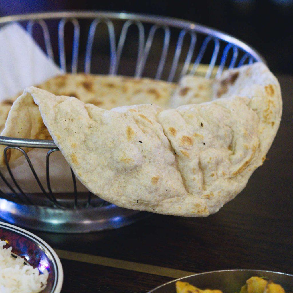Vegan bread at Mother India Café, Edinburgh