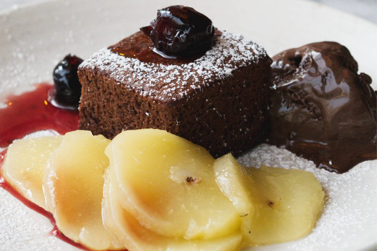 Vegan brownie and pears at Herringbone Goldenacre, Edinburgh
