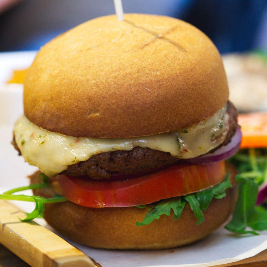 Vegan cheeseburger at Woodland Creatures, Edinburgh