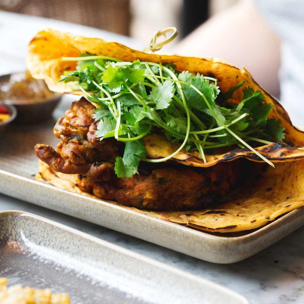 Vegan sweet potato burger at Herringbone Goldenacre, Edinburgh