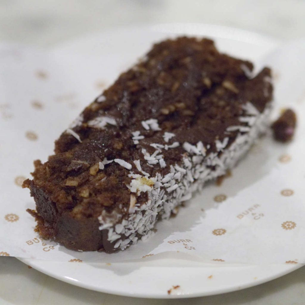 Vegan cake at Burr & Co, Edinburgh