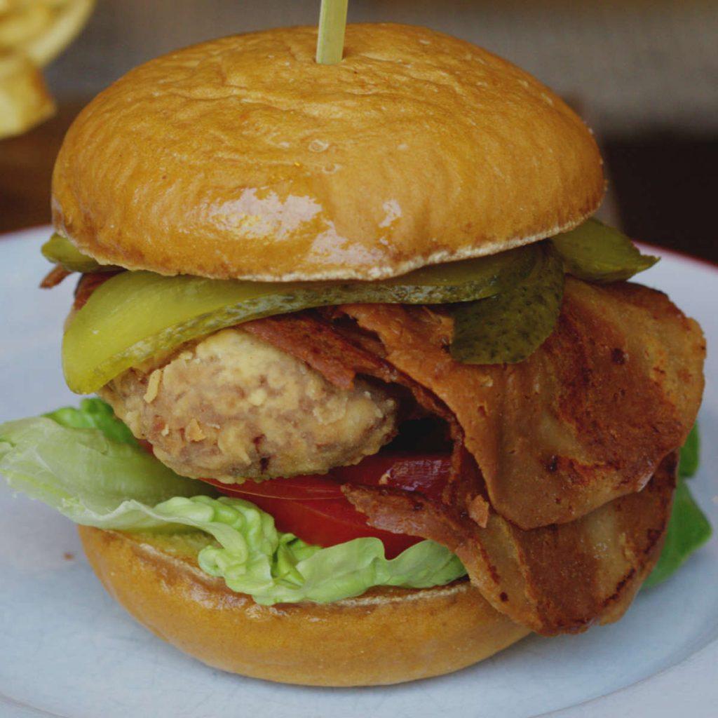 Vegan chickin burger at Bread Meats Bread, Edinburgh