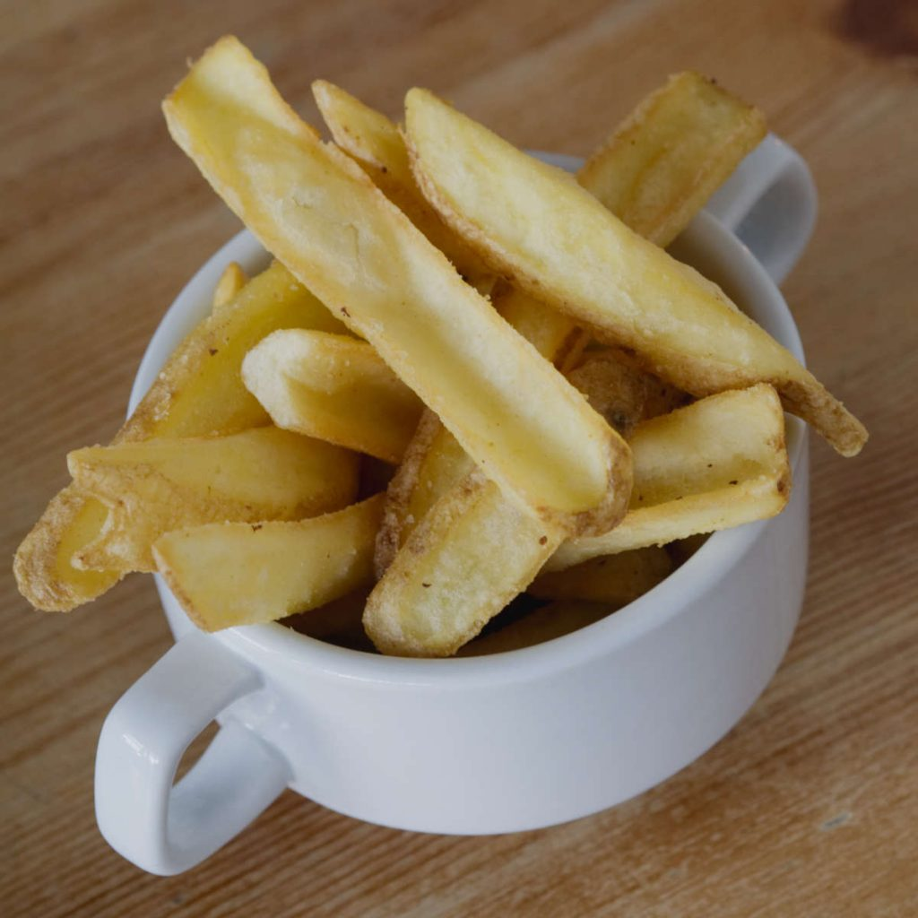 Vegan chips at Akva, Edinburgh