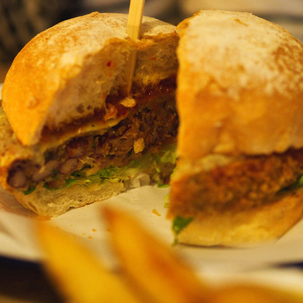 Sliced eros burger at the Lioness of Leith, Edinburgh