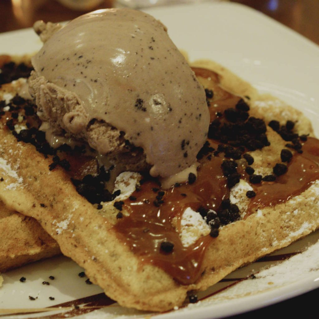 Vegan waffle and ice cream at Affogato, Edinburgh