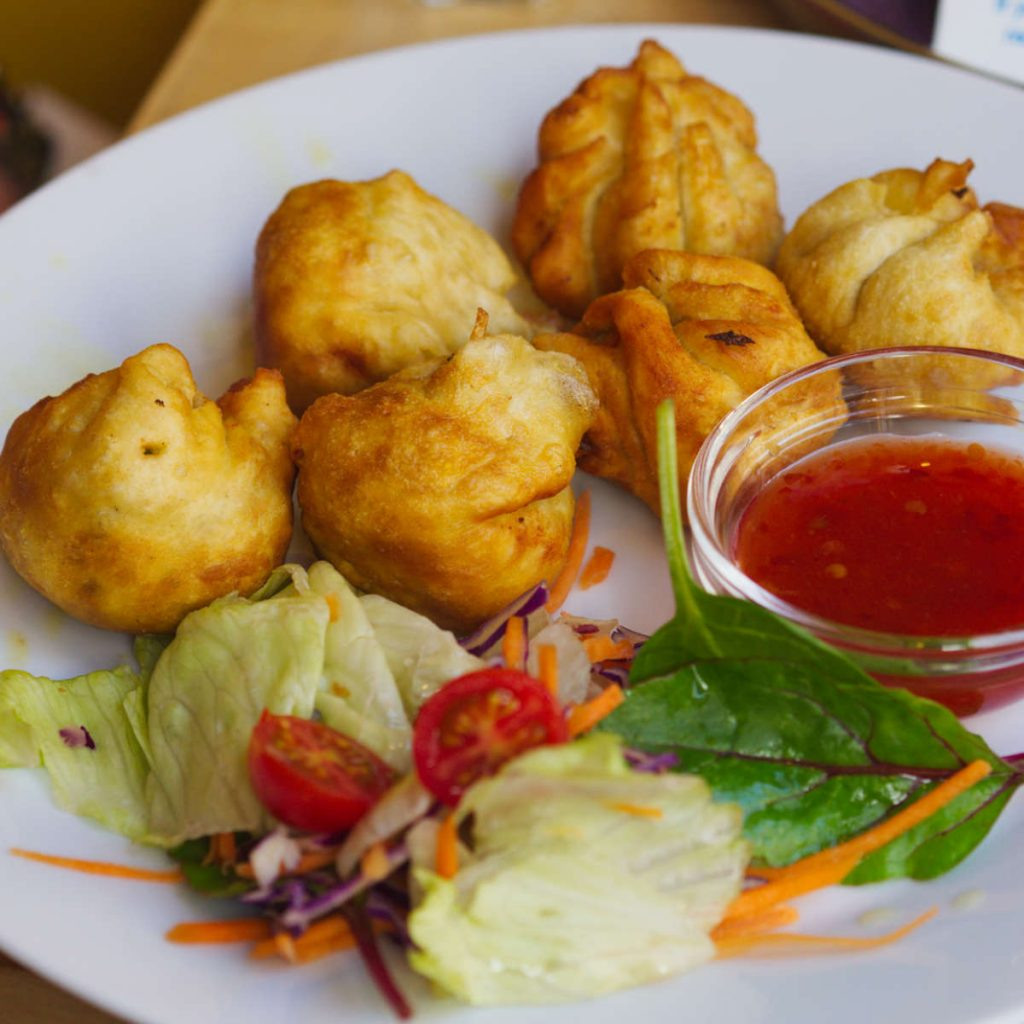 Vegan dumplings at Himalaya Centre, Edinburgh