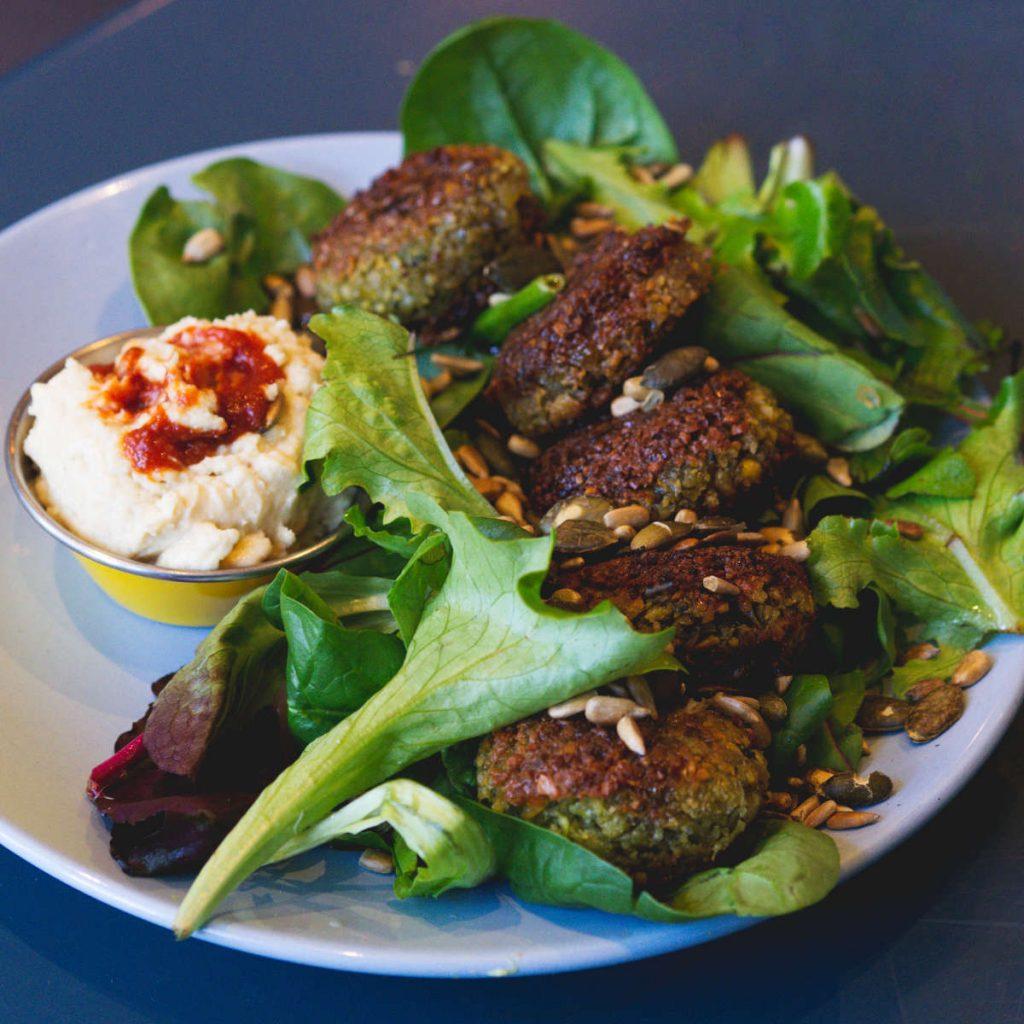 Vegan falafel plate at 305 Leith Walk, Edinburgh