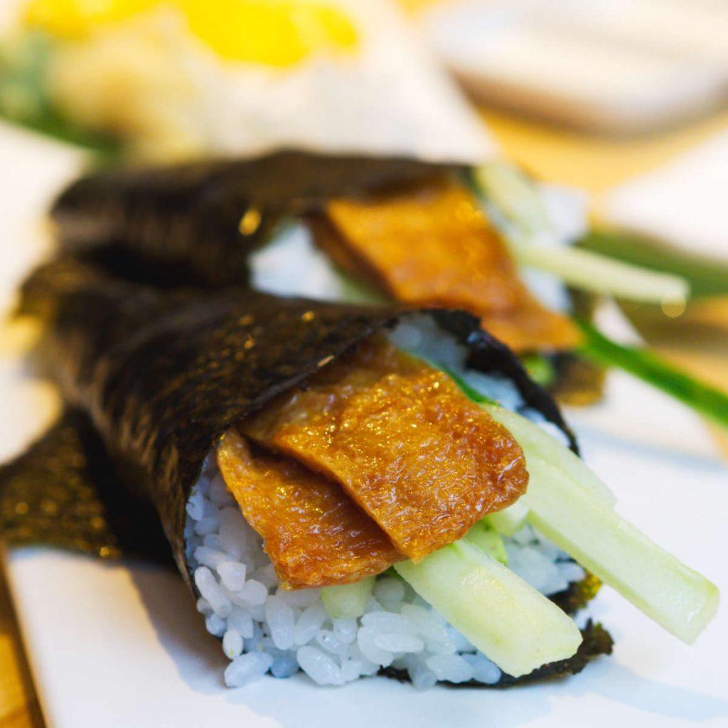Vegan tofu hand rolls at Maki Ramen, Edinburgh