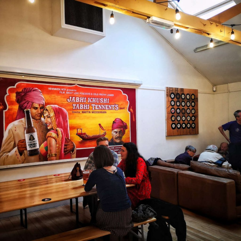 Inside Bellfield Brewery Taproom, Edinburgh
