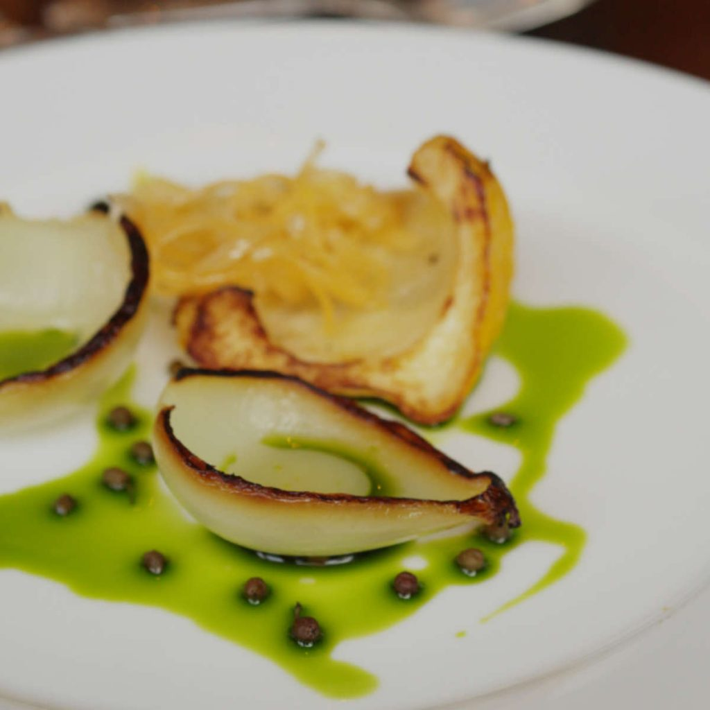 Vegan onion salad at Edinburgh Food Studio, Edinburgh