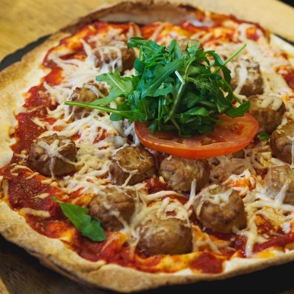 Vegan meatball pizza at Woodland Creatures, Edinburgh