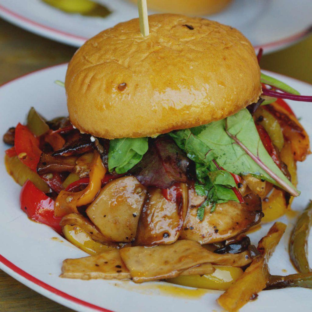 Vegan pulled mushroom burger at Bread Meats Bread, Edinburgh