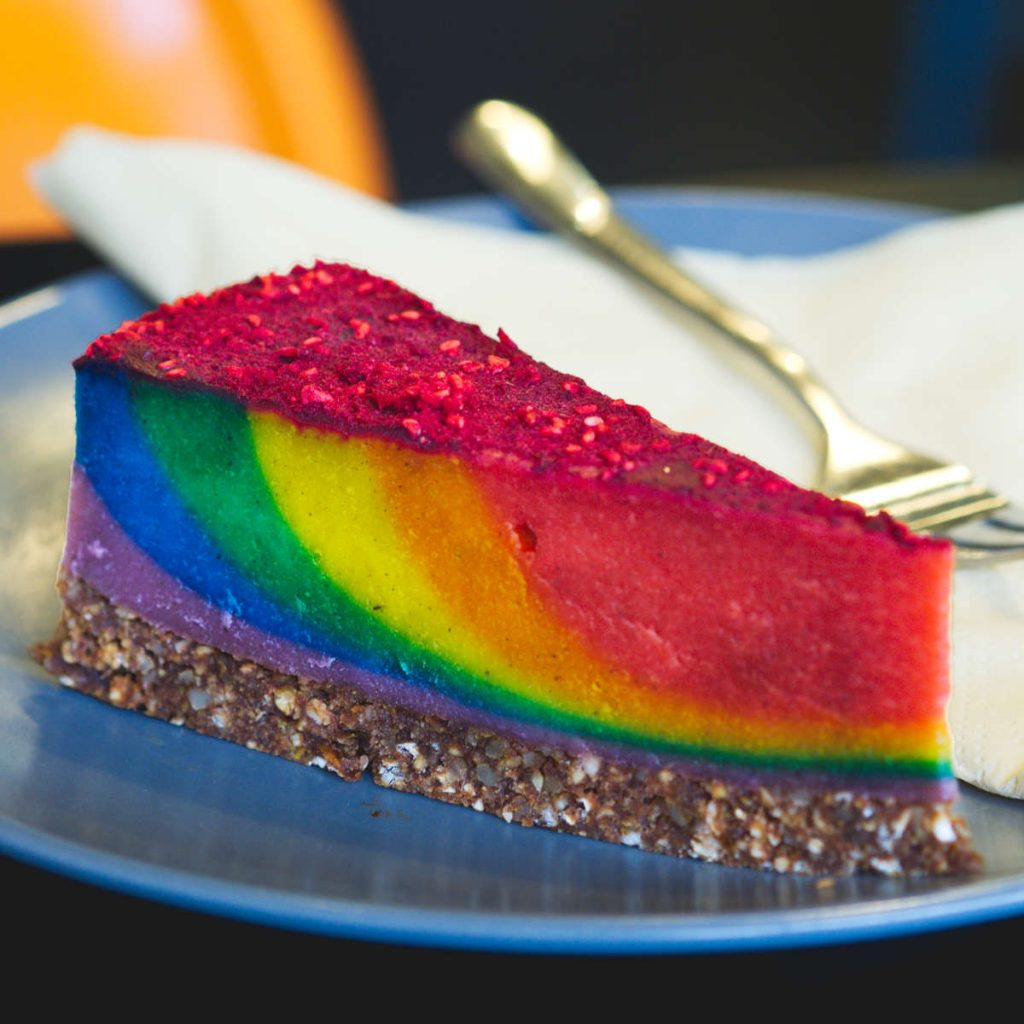 Vegan rainbow cake at Grams, Edinburgh