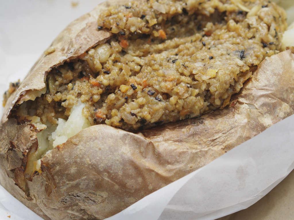 Vegan baked potato with haggis at The Baked Potato Shop, Edinburgh