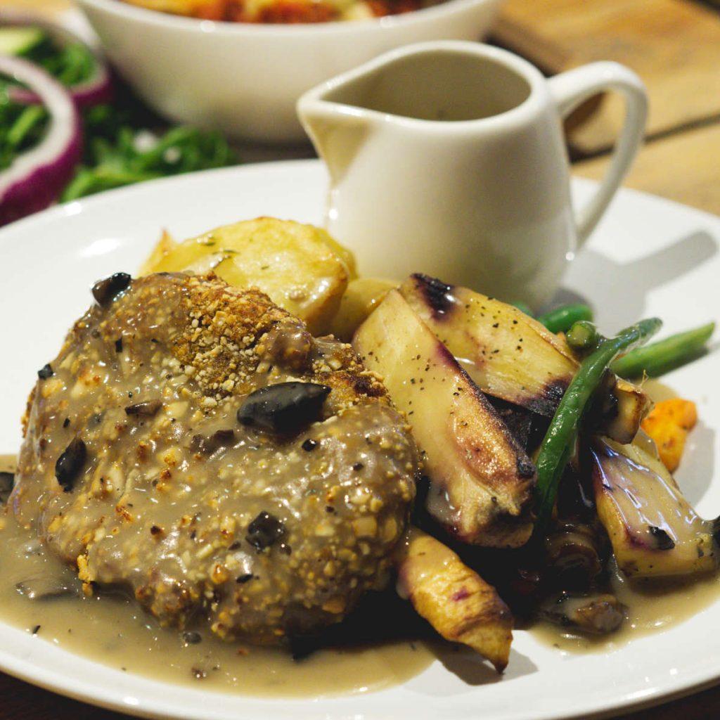 Vegan roast dinner at Woodland Creatures, Edinburgh