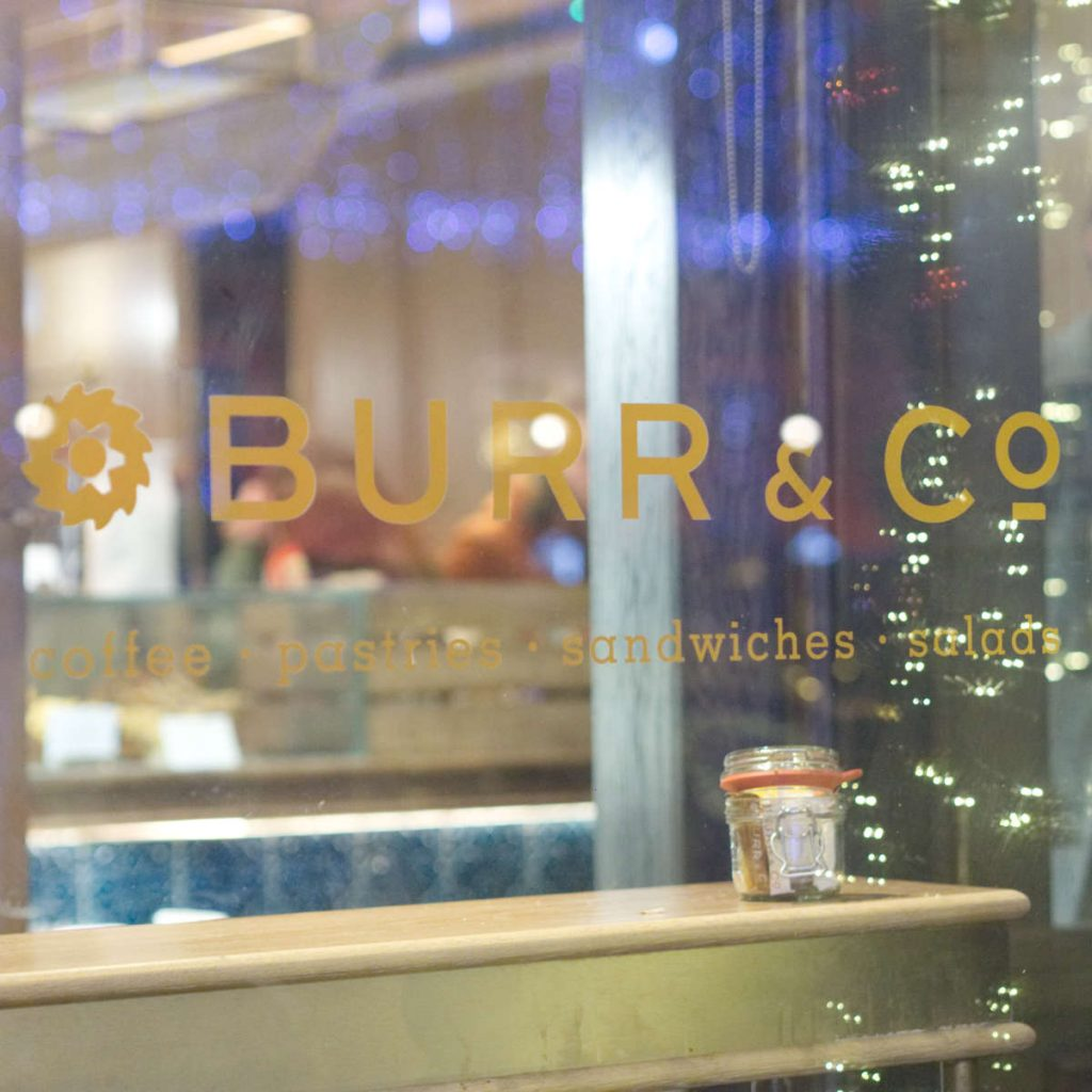 Burr & Co sign in the window
