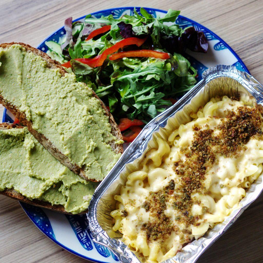 Vegan macaroni cheese, bread and hummus and side salad by Rose Theatre Café, Edinburgh.