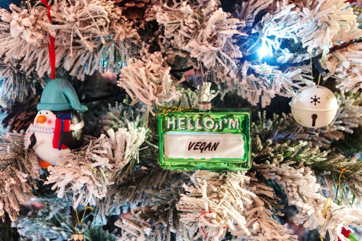 A close-up of a decoration that says 'Hello I am vegan'