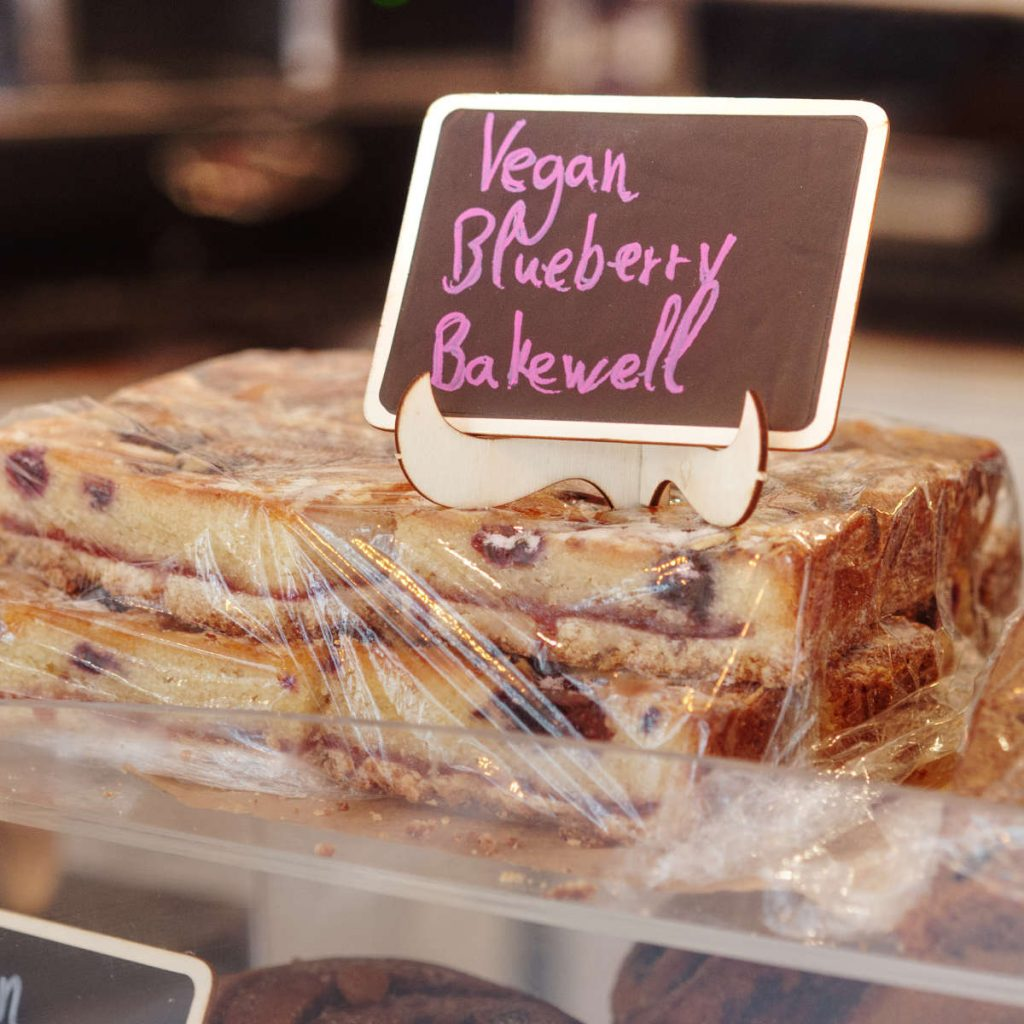 Vegan Blueberry Bakewell at Love Peace and Coffee Edinburgh